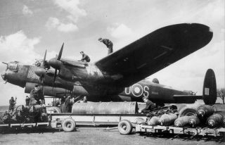 "Lancaster R5868, ""S for Sugar"", a famous aeroplane, now preserved at the RAF Museum, Hendon.                                         By permission of the Royal Air Force Museum, Hendon. 