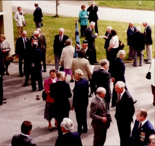 Guests at the Australian airmen's 50-years re-union at RAF Bottesford in 1995. | Bottesford Local History Archive