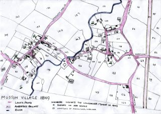 1849 map of Muston from Tithe Records. North is to the right; L-R approx. 1.2 km. BLHS, re-drawn by Sue Dunsmore. | Bottesford Local History Archive