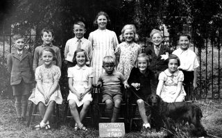 Children outside Muston Village School in 1940. | Bottesford Local History Archive