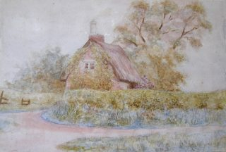 Thatch Cottage, an old painting. | Bottesford Local History Archive