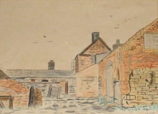 An old painting of Sykes Kane Farm, 1881.  | Bottesford Local History Archive
