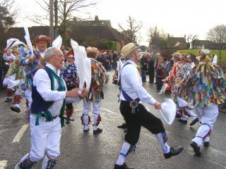 The Foresters Morris Team dancing on Boxing Day, 2008. | Bottesford Local History Archive