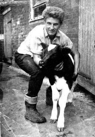 Jerry Rastall, at Church Farm (Palmer's), 1950s. | Bottesford Local History Archive