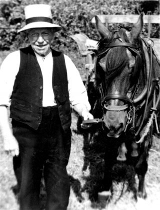 Billy Parnham at his farm on Albert St., 1950s. | Bottesford Local History Archive, from the collection of Miss Violet Hind