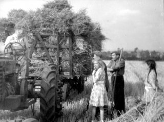 """Harvesting at Bottesford, 1947. The man leaning on the rake is """"Antik"""", a german ex prisoner-of-war. 