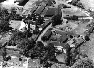 Aerial view of Beckingthorpe and Church Farms in the 1950s. | Bottesford Local History Archive