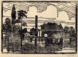 Easthorpe water and steam mill, 1933 (linocut print made at Bottesford School).   Bottesford Local History Archive