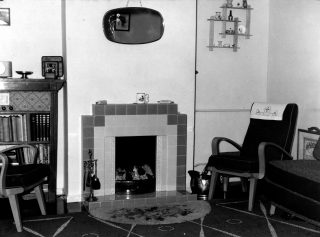 Interior of a house newly-built by W.J. Roberts Ltd around 1950.   Bottesford Local History Archive, ©Ted Rayson