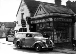 Outside Monty's store, ca. 1950. | Bottesford Local History Archive