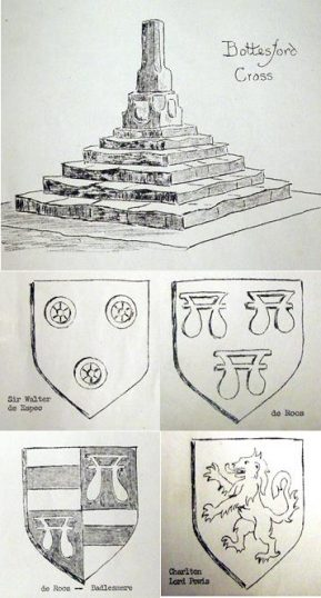 Reproductions of the sketch of Bottesford Market Cross and the four heraldic shields displayed on its base (all now sadky weathered away) - from Nichols 1795 History and Antiquities of the County of Leicester. | Bottesford Local History Archive
