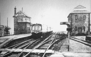 A diesel railcar at Bottesford. | Bottesford Local History Archive