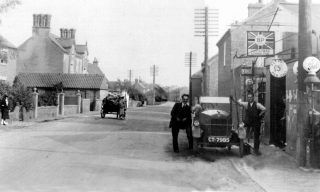 Outside Christmas & Chorlton's garage, Bottesford High Street, 1930s. | Bottesford Local History Archive