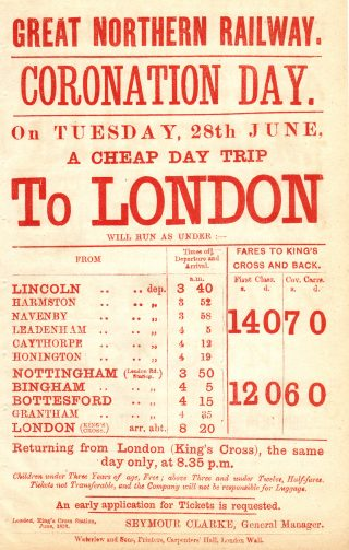 GNR Coronation Day excursion timetable, probably June, 1911 (King George V).                                           | Bottesford Local History Archive