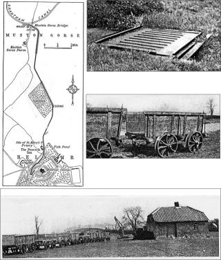 A map of the railway from the canal up the hill to the castle, the old weighbridge at Muston Gorse, two of the wagons that were used, and the train of wagons standing by the canal wharf terminus with the crane and hut. | Bottesford Local History Archive