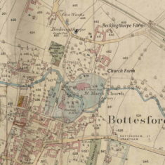 Bottesford Church & Beckinthorpe Farms. O.S,1884