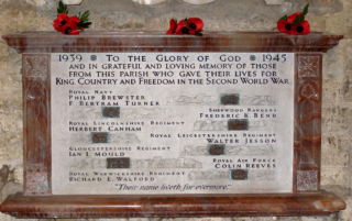 Frederick K. Bend remembered on the 2nd World War Memorial, St Mary's Church, Bottesford   | BCHP