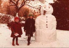 Winter 1982, making a snowman