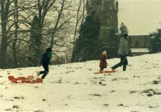 Winter 1982, tobogganing at Muston