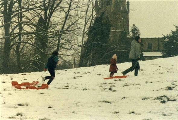 Winter 1982, tobogganing at Muston