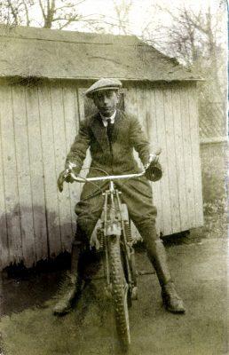 Alan Foster, on motorbike at Pasture Farm, Plungar