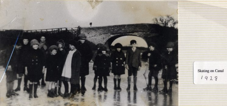 Children on the ice on the Grantham Canal at Plungar