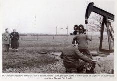 Oil well at T.B.Kirk's farm (Poplar Farm), Plungar, 1953