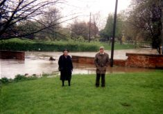 Mr & Mrs Kirk by the flooded ford, Good Friday 1998