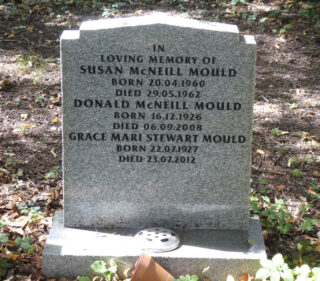 Headstone in St. Mary's churchyard, Bottesford, for Susan McNeill Mould, Donald McNeill Mould and Grace Mari Stewart Mould.
