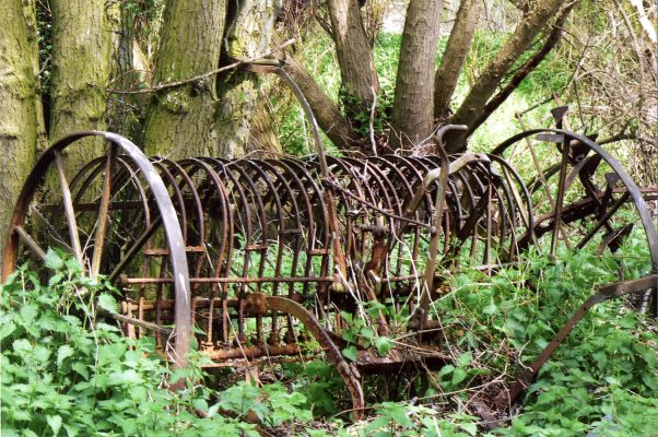 This appears to be a horse-drawn field rake, abandoned outside the sheds at the Lock House. | Margaret Langton