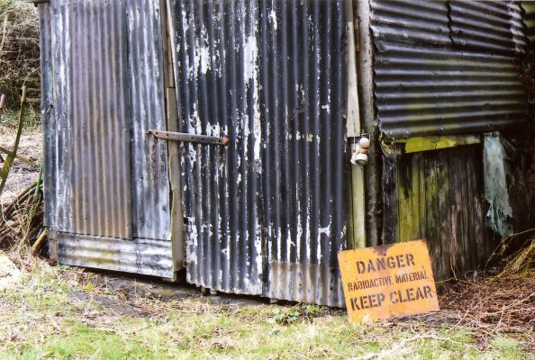 A joke, surely! The sheds did contain boxes that had once held explosives (we didn't check that they were all empty), but no explosions have been reported.   Margaret Langton