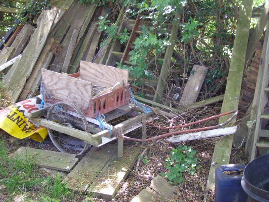 The trolley: used to ferry goods from the road at Stenwith Mill, across the field to the cottage.   Neil Fortey