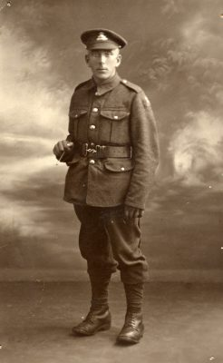 Private Henry James Box in the uniform of the Lancashire Fusiliers, taken c.1918.   From Janet Dammes' family archive.