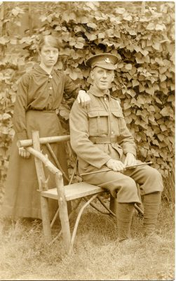 This may be a picture of Pte Henry Box soon after he joined up during the First World War, when he was posted to the Yorkshire Light Infantry. The young woman behind him seems to be his sister Evelyn Box (later