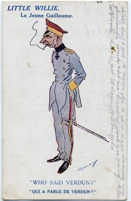 A First World War postcard mocking the Kaiser during the seige of Verdun. | From Janet Dammes' family archive.