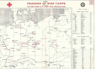 Map of POW camps in Germany WW2, produced by the Red Cross