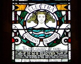 Part of the memorial window at St Georges Chapel, Chatham: