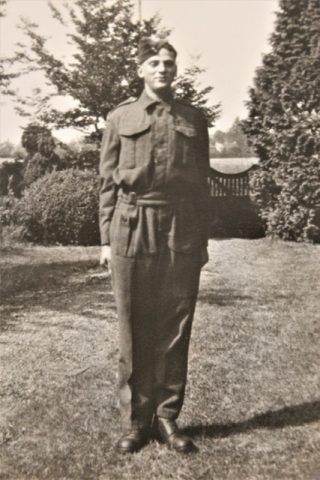 Ian Lennard Mould in uniform at the family home in Easthorpe, before he left with his regiment for the D-day landings. | From the Mould family archive.