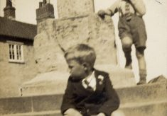At the cross, Eve Marston and her children, c.1930