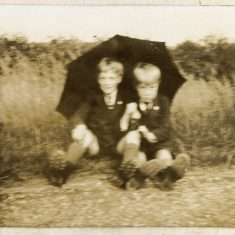 Vic and Frank, at the roadside possibly in the fields on Belvoir road.   Janet Dammes