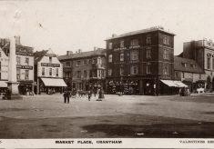 Postcard of Grantham Market Place, date perhaps 1910