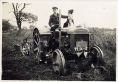 Frank Marston 1942, at work with tractor and dog.