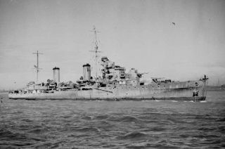 HMS Aurora in 1942, at anchor off Liverpool. | Imperial War Museum, Wikipedia