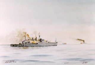 Painting depicting the cruisers HMS Exeter (foreground) and HMNZS Achilles (right centre background) in action with the German heavy cruiser Admiral Graf Spee (right background) - watercolour by Cmdr Eric Tufnell (U.S. Naval Historical Center. Public Domain Free Licence).