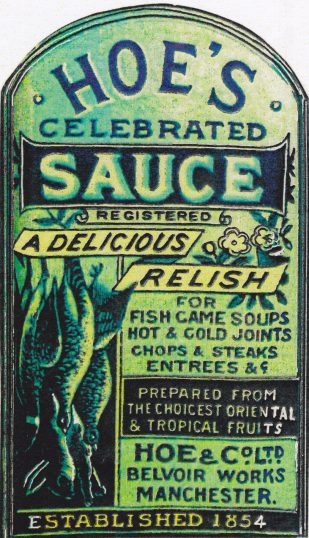 Facsimile of the Hoe's Sauce bottle label from about the time of the First World War. | tommyspackfillers.com