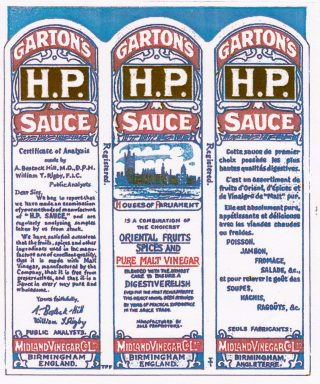 Facsimile of Garton's H.P. Sauce bottle label from the First World War, bilingual in French and English. | tommyspackfillers.com