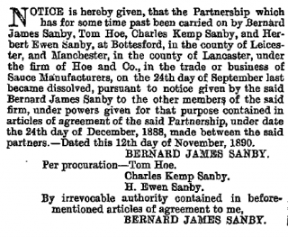 The notice from the London Gazette 18th November 1890 recording the winding up of the Hoe-Sanby partnership. | Thanks to Diana Honeybone for providing this information.