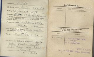 A.C.Wright - Service Log, WW1 | Copyright Dr Rebecca Matthews