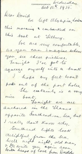 Letter from Arthur Charles Wright to his son, dated 12th Oct 1938: in the end the expedition was cancelled | Copyright Dr Rebecca Matthews