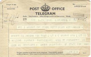 Telegram to advise Jeannie Wright that ACW was missing – July 1940 | Copyright Dr Rebecca Matthews